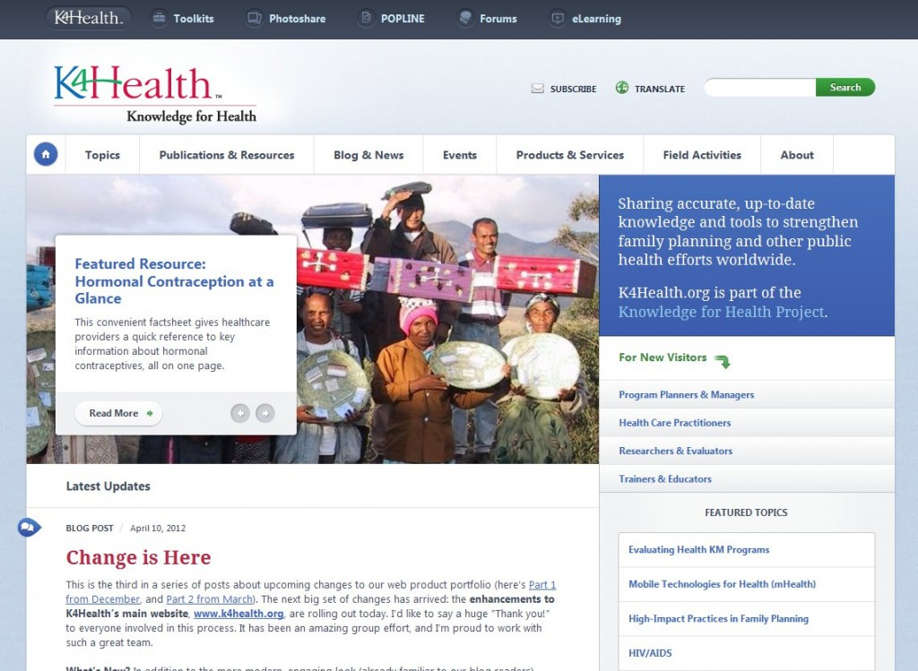 K4Health's beautiful, functional new homepage