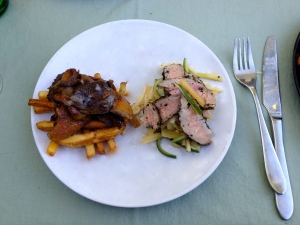 Silk Road Duck Confit with Jicama Fries, and Szechuan Peppercorn Duck Breast with Rhubarb-Jicama Slaw.