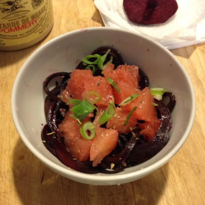 Warm beet noodle and grapefruit salad