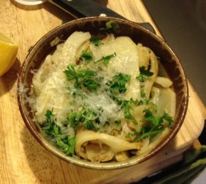 Ribbons of celeriac with lemon, parsley, and Parmigiano-Reggiano