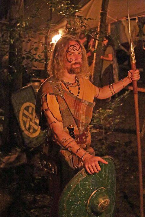 Master Vortigern (Danny Hansen) with woad by me, 2014. Photo by Master Ursus (Tim Tyson), used with permission.