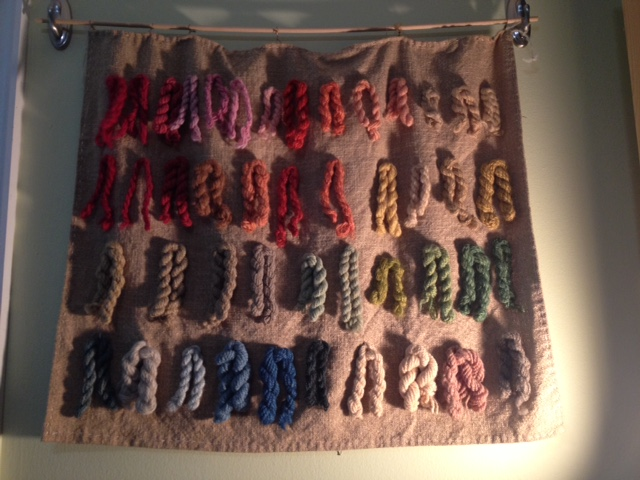 Sampler of handspun wool dyed with natural dyes, by Michelle Parrish of Local Color Dyes (who also grew many of the dye plants). This isn't a great picture. I'll try to get a better one.